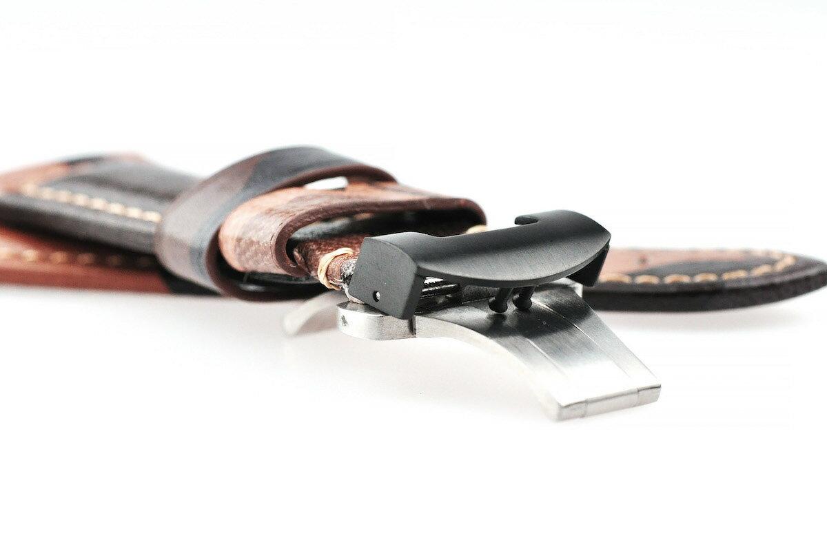 腕時計ベルト腕時計バンド替えストラップ社外品汎用レザーベルト革ベルト取付幅22mm/24mm/26mm適用:PANERAIパネライ(尾錠)Dバックル付き[Eight-ELB096A]