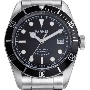 【NEW】 PARNIS パーニス 自動巻き 腕時計 [PA6050-S3AS-BK] 並行輸入品 純正ケース メーカー保証12ヶ月