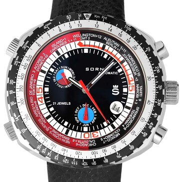 SORNA ソルナ 自動巻き(手巻き機能あり) 腕時計 [T21707-BLACK] 並行輸入品 カレンダー GMT(ワールドタイム) タキメーターベゼル