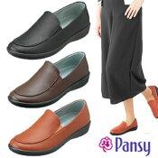 Pansyパンジー靴スリッポン2324ブラックブラウンレンガ生活防水お買い物履き母の日敬老の日ギフトプレゼント