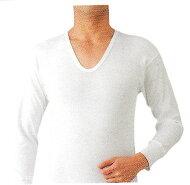 【送料無料】紳士ニットキルト長袖U首シャツ保温肌着綿100%M・L・LL白・グレー
