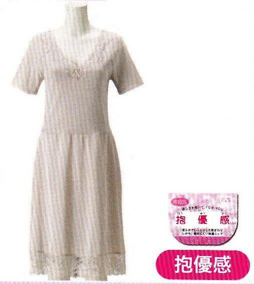 日本製婦人 半袖スリップシャツ部分 綿100% 90・95cm丈 No.5129スカート部分ポリエステルレース部分ナイロン100%カラー ベージュ日清紡マクローヤルDX防縮ニットサイズ M・L・LL・3L