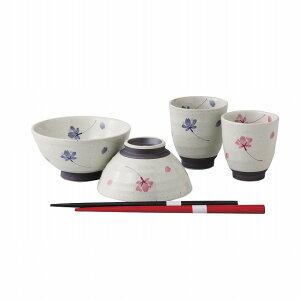 桜の舞 箸付睦揃 お茶碗・湯呑セット 波佐見焼 Shower of Sakura chopstik mutsu set Chawan・teacup set Hasami ware Japanese ceramic.