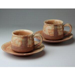 萩焼 浅紅角珈琲ペア(化粧箱) Hagi yaki cup&saucer 2set made in Japan. Japanese pottery.