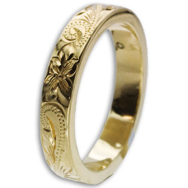ハワイアンジュエリー リング 14K ゴールド Laule'a  ラウレア オーダーメイド レディース 女性 メンズ 男性 ペアリング 指輪 ハワジュ フラットリング 4mm幅 2mm厚【刻印無料】OGR013-4mm