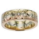 ハワイアンジュエリー リング 14K ゴールド Laule'a ラウレア オーダーメイド レディース 女性 メンズ 男性 ペアリング 指輪 ハワジュ トライカラーフラットリング6mm幅 2mm厚【刻印無料】【送料無料】OGR078