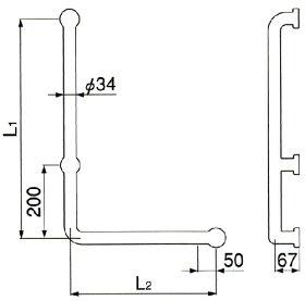 ミヤコ:MBソフトタッチバーL型MB34L:MB34L-700×500