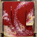 ふだんきものハイムラヤで買える「お仕立て上がり 正絹 高級 本振袖 大振袖 着物 単品 絵羽 京友禅 金駒風刺繍 金彩 赤地にぼかし桜紫陽花 No.3806【TY】」の画像です。価格は141,900円になります。