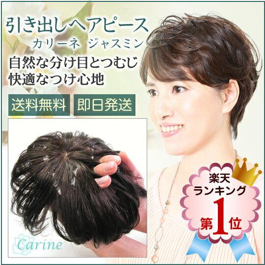 人工肌付きで自然なつむじと分け目人毛+形状安定耐熱毛でふんわりキープ自分の髪をいかして華やかにプラス引き出しヘアピース<カリーネジャスミン>特別セール価格24800円ケア用品プレゼント付き♪:ヘアダイレクト