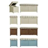 ベンチ 収納付(チェック/ストライプ)。「MAM/benchy」スツール収納。パイン材のカントリー家具[送料無料]