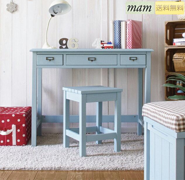 アンティーク調のデスク ブルー ナチュラル ホワイト カフェ テーブル セージ 幅91cm パイン材のカントリー家具 MAM マム sageの写真
