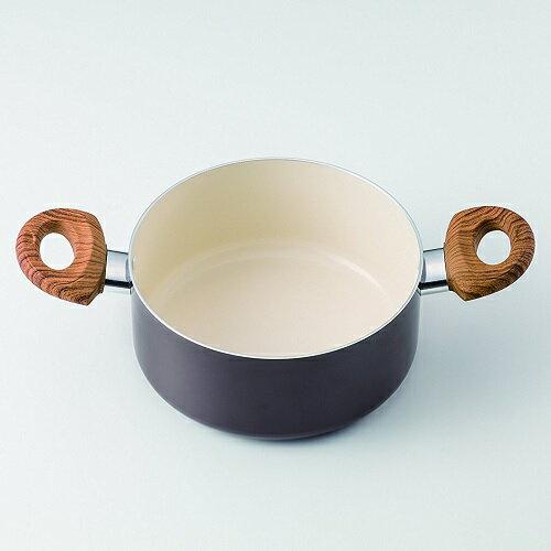 ククナキッチン 木目調セラミックアルミ鍋 20cm 両手鍋 APIDE(アピデ)