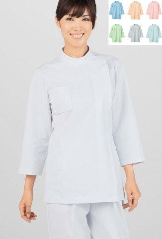 レディス ケーシー型白衣【8分袖】 白衣 女性 ニット モンブラン 【コンビニ受取対応商品】