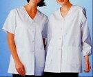 FA332女性用調理衣半袖衿なし白S〜5L厨房調理白衣