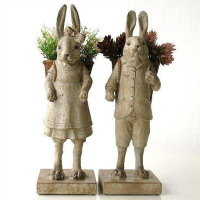 うさぎのペア置物かわいいインテリアオブジェ雑貨置き物ウサギ兎ナチュラルカントリーテイスト ...