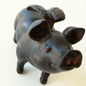 ぶた 置物 置き物 雑貨 豚 ブタ 天使 羽 ピッグ インテリアオブジェ かわいい レトロ雑貨…