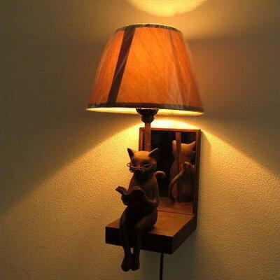 ミラー付き壁掛け照明鏡インテリアネコ読書猫かべねこ雑貨ライトウォールライトウォールランプ...
