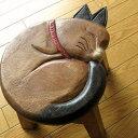 楽天天然木製スツール 木製椅子 玄関椅子 木のスツール かわいい おしゃれ 猫雑貨 ねこ 猫インテリア 猫 アジアン家具 ネコスツール ウッドスツール シンプル ねこ 花台 フラワースタンド ミニスツール 子供椅子 まる丸ネコさん