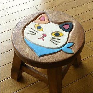 子供イスチェアー椅子幼児ネコねこキャットウッドスツールかわいいホワイトシロネコ白猫リビン...