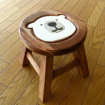 木製スツール しろくまスツール シロクマ 雑貨 インテリア かわいい おしゃれ 子ども こども 小さい 木工品 アカシア くま クマ ベアー ミニスツール 花台 玄関椅子 木製椅子 天然木スツール ウッドスツール アジアンスツール シンプル 子供椅子 白くまくん