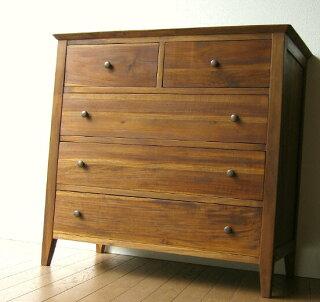 チークチェスト85MIDDLEBROWN木製収納家具(アジアン家具チーク無垢材整理タンス)