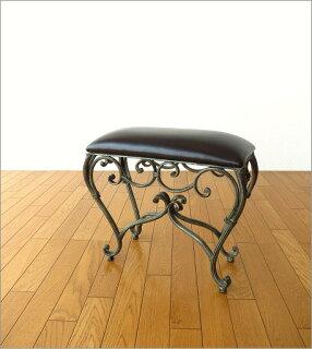 アンティーク風スツールおしゃれ椅子クッション付きヨーロピアンエレガントデザイン猫脚風チェアーアンティーク調いす奥行スリム玄関リビングインテリア家具送料無料アイアンのスリムなスクエアスツール2