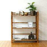 ウッドラック 飾り棚 木製 本棚 オープンラック 天然木 ナチュラル カントリー 幅70cm ウッド3段シェルフ