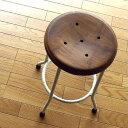 ハイスツール 木製 アイアンスツール 椅子 天然木 カウンターチェア カウンタースツール アンティークスツール レトロ シャビー カントリー ナチュラル おしゃれ キッチンスツール アンティーク 白 高さ50cm 送料無料 ホワイトアイアンとウッドのスツール M