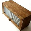 ナチュラル 収納ボックス アンティーク風 木製 レトロ BOX フラップ式 ガラス扉 ふた付き 小物入れ スパイスラック キッチン収納 木箱 カントリー カウンター おしゃれ シンプル キッチンラック ウッドボックス 収納BOX 調味料入れ 調味料ラック 素朴なウッドケース