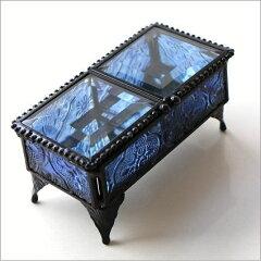 小物入れ ガラス アンティーク アクセサリーケース ふた付き ミニケース ミニボックス ガラス…