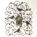 アイアン壁飾り 壁掛けインテリア リーフ 鳥 アイアン雑貨 ウォールデ...