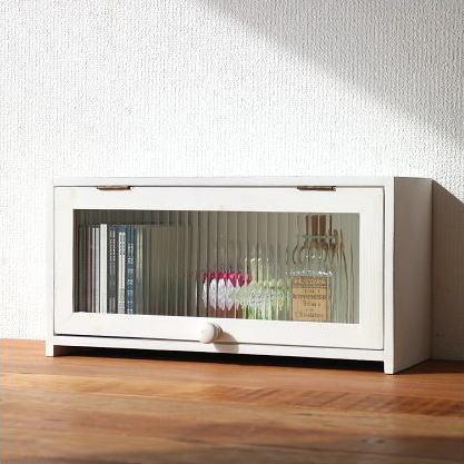 ナチュラル 収納ボックス 白 アンティーク風 木製 BOX フラップ式 ガラス扉 ふた付き 小物入れ スパイスラック キッチン収納 木箱 カントリー カウンター おしゃれ シンプル キッチンラック ウッドボックス 調味料入れ 調味料ラック 素朴なウッドケース ホワイト