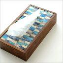 ティッシュケース おしゃれ 木製 北欧 かわいい 木 インテリア アンティーク ティッシュカバー TISSUE BOX 箱 収納 四角 ティッシュケースボックス ティッシュボックス ナチュラル モダン 卓上 自然素材 モザイク デザイン ボーンとウッドのティッシュケース C