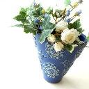 花瓶 陶器 おしゃれ フラワーベース 花器 テラコッタ 素焼き 洋風 花入れ インテリア ベース デザイン 手作り ブルー 青 口広 口が広い 陶器のミニベース ブルーメ