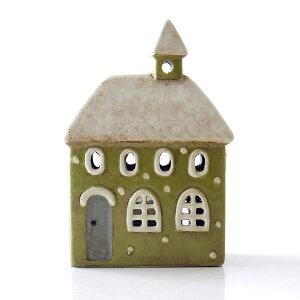 キャンドルハウス 陶器 キャンドルホルダー おうち 家 おしゃれ かわいい ハウス型 LED付きキャンドルハウスD
