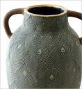 花瓶 フラワーベース おしゃれ 陶器 クジャク 模様 壺 デザイン 大きな 大きい テラコッタピーコックベース 3