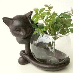 花瓶 猫 ガラスベース フラワーベース キャンドルホルダー 花瓶 猫 置物 猫 雑貨 置き物 …