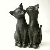 ペアネコ 猫 置物 インテリアオブジェ ネコ 雑貨 置き物 ねこ アジアン雑貨 かわいい レトロ アンティーク風 おしゃれ ネコグッズ 黒猫 置物 子ネコ 雑貨 キャット cat アジアン雑貨 猫 置物 ねこ 可愛い アンティーク風オブジェ 仲良し子ネコのオブジェ