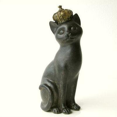 王冠ネコ猫置物猫雑貨置き物ネコグッズ猫グッズねこグッズ可愛いかわいい飾りアンティークイン...