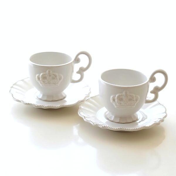 コーヒーカップ&ソーサー 陶器 白 ティーカップ ソーサー ペアカップ カップ&ソーサー セット おしゃれ コーヒーカップ&ソーサー 洋風 北欧 洋食器 コーヒーカップ お皿 プレート セット コーヒーカップ&ソーサー アンティークなペアカップ ホワイトクラウン