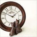 仲良しネコ置時計おしゃれ置き時計インテリアかわいい猫雑貨猫置物アンティークテーブルクロッ...