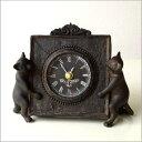 置時計 置き時計 アンティークな時計とネコさん
