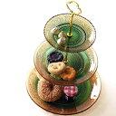 ケーキスタンド 3段 ガラス アンティーク おしゃれ ケーキ皿 スタンド ケーキプレート 洋食器 クラシック 模様 スイーツスタンド デザートスタンド フレンチ ヨーロピアン ガラスの3段プレート AG