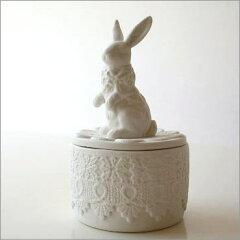 小物入れジュエリーケースアクセサリーケースラビットうさぎウサギボックス陶器ホワイト白プレ...