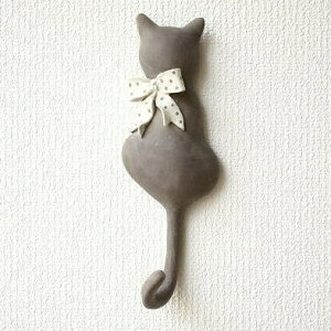 壁掛けフックウォールフックキーフック猫ネコ雑貨アジアン雑貨壁飾りオブジェリビングネコグッ...
