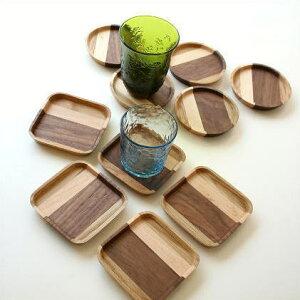 木製コースターセットおしゃれカフェ天然木丸型/角型ナチュラルウッドコースター5セット 2タイプ