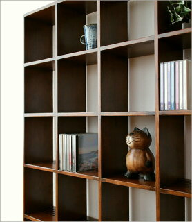オークディスプレイラックL(AV収納飾り棚カップボード木製CDラック格子オープンラック壁面家具ウッドラック整理棚アジアン家具オーク材)送料無料