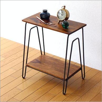 hakusan rakuten global market side table wood iron. Black Bedroom Furniture Sets. Home Design Ideas