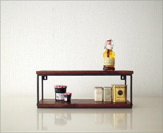 木製ウォールシェルフアイアン壁掛け棚CDラックキッチン収納スパイスラックシーシャムウッドフリー棚ミニ二段