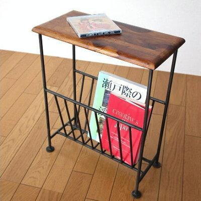 マガジンラック テーブル付き 木製 おしゃれ スリム マガジンスタンド アイアン マガジンラッ…
